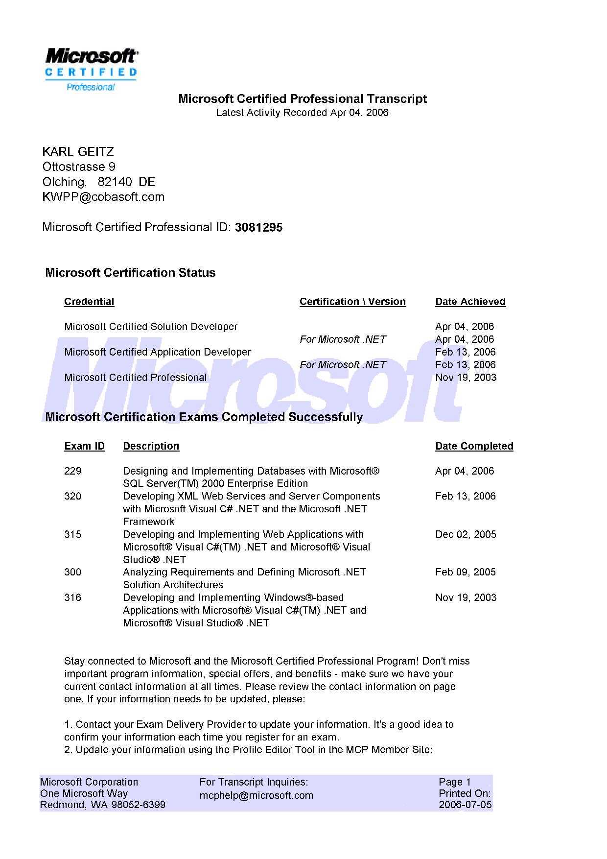 Cobasoft professional software development mcp transcript mcad certificate mcp certificate 1betcityfo Image collections